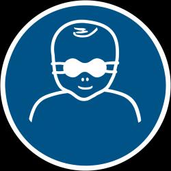 M025 : Les enfants en bas âge doivent être protégés par un protecteur opaque de l'oeil